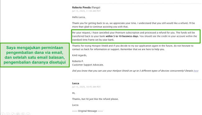 Tangkapan layar percakapan email dengan dukungan Hotspot Shield, menghasilkan pengembalian dana yang disetujui.