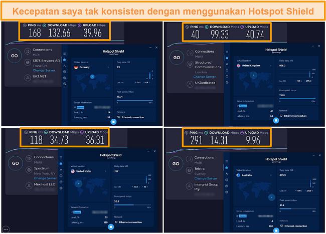 Tangkapan layar uji kecepatan Hotspot Shield dari Jerman, Inggris, AS, dan Australia