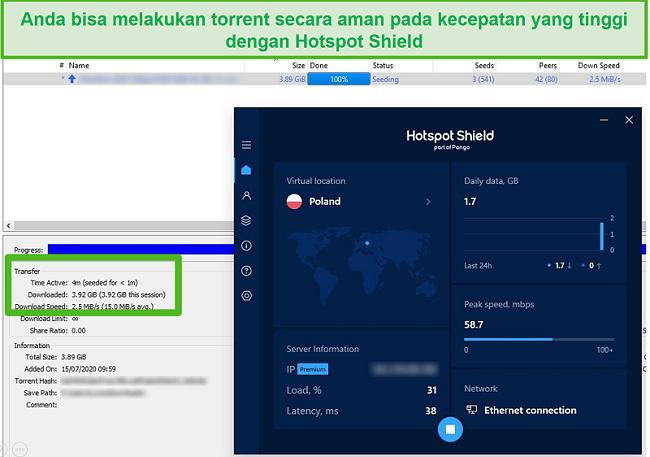 Tangkapan layar saat terhubung ke Hotspot Shield saat melakukan torrent file 4GB dalam waktu kurang dari 4 menit.