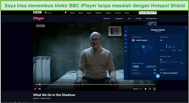 Tangkapan layar dari Hotspot Shield yang membuka blokir What We Do in the Shadows di BBC iPlayer.
