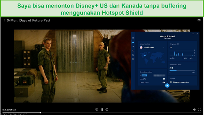 Tangkapan layar dari Hotspot Shield yang membuka blokir Disney + dan streaming X-Men: Days of Future Past.