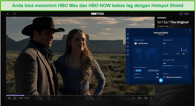 Tangkapan layar dari Hotspot Shield yang membuka blokir Westworld di HBO Max.