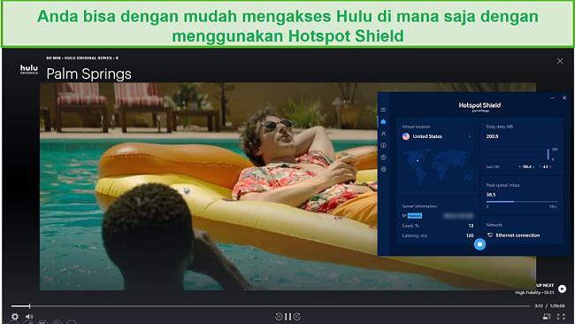 Tangkapan layar dari Hotspot Shield yang membuka blokir Hulu dan streaming Palm Springs.
