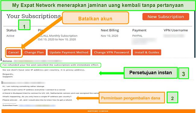 Tangkapan layar dari proses pengembalian dana My Expat Network