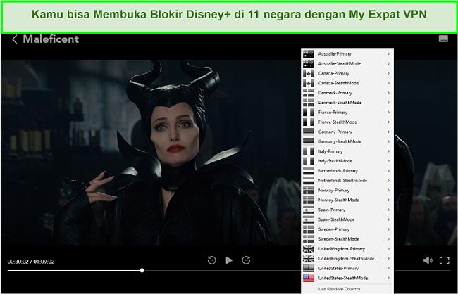 Tangkapan layar Jaringan Ekspat Saya yang membuka blokir Disney + AS