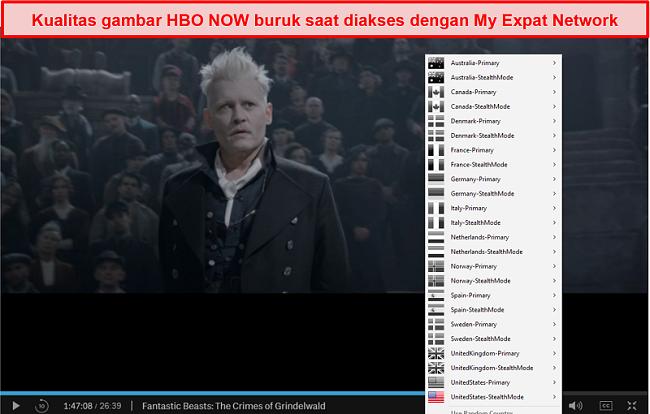 Tangkapan layar Jaringan Ekspat Saya membuka blokir HBO SEKARANG