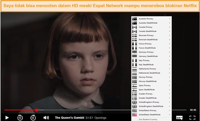Tangkapan layar Jaringan Ekspat Saya membuka blokir Netflix AS