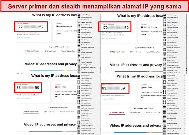 Tangkapan layar dari server utama dan siluman My Expat Network yang memberikan alamat IP yang sama