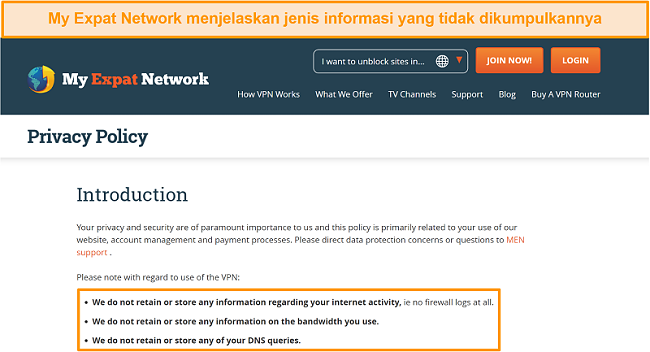 Tangkapan layar kebijakan privasi My Expat Network