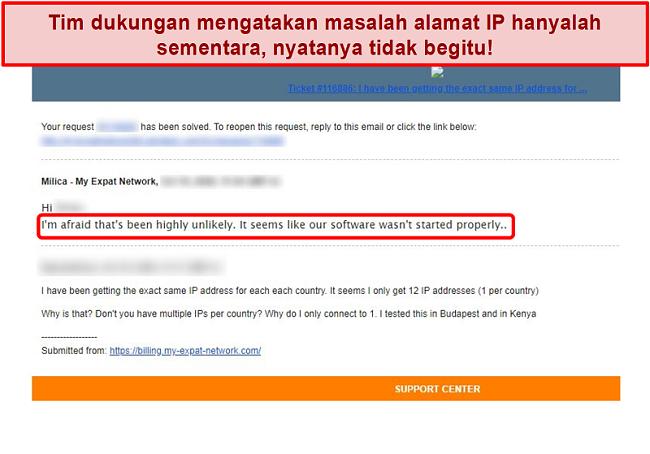 Tangkapan layar tanggapan email My Expat Network memberikan penjelasan untuk masalah alamat IP