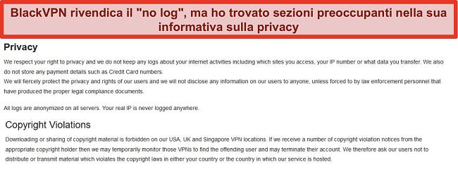 Screenshot delle sezioni sulla privacy e sulle violazioni del copyright dei Termini di servizio di BlackVPN