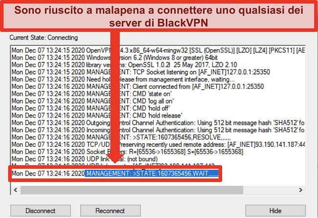 Screenshot di BlackVPN che tenta di connettersi a un server tramite il client OpenVPN