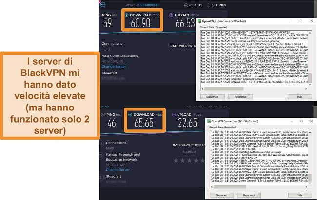 Screenshot di 2 test di velocità durante la connessione ai server BlackVPN negli Stati Uniti