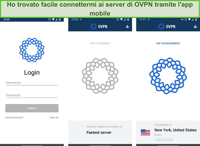 Screenshot del processo di accesso di OVPN su dispositivo mobile