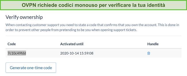 Screenshot del codice monouso di OVPN per verificare l'identità durante il processo di cancellazione dell'abbonamento