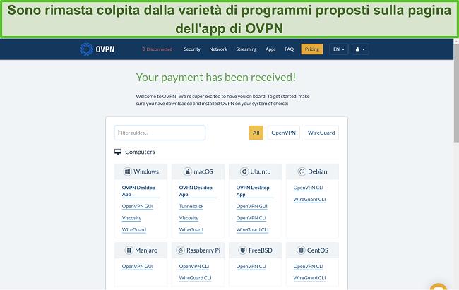 Screenshot delle opzioni dell'app OVPN