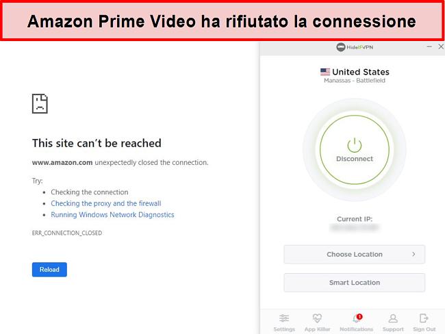 Screenshot di Amazon Prime Video che rifiuta la connessione HideIPVPN.