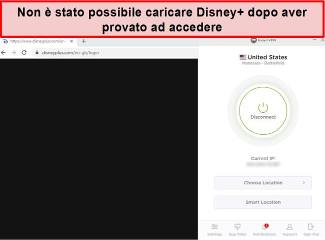 Screenshot di HideIPVPN che non riesce ad accedere a Disney +.