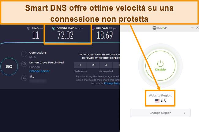 Screenshot del test di velocità di HideIPVPN Smart DNS.