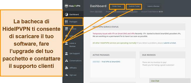 Screenshot della schermata di accesso di HideIPVPN per desktop.