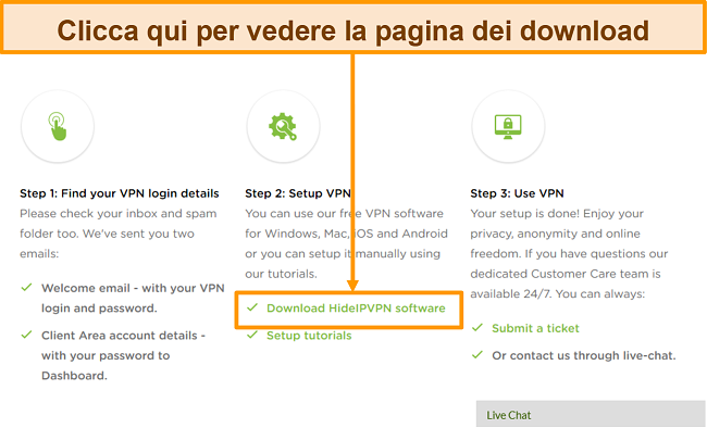 Screenshot del processo di creazione dell'account di HideIPVPN, in cui è necessario fare clic su