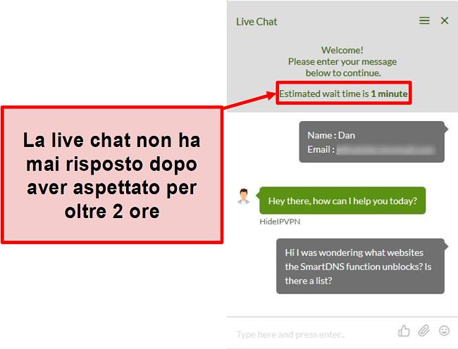 Screenshot della chat live di HideIPVPN che non risponde.