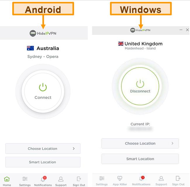 Screenshot delle applicazioni desktop e mobili di HideIPVPN.
