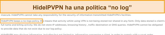 Screenshot della politica di no-log di HideIPVPN.