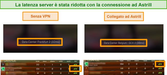 Screenshot von Apex Legends- und Rocket League-Pings, wenn die Verbindung getrennt und mit einem lokalen Astrill VPN-Server verbunden ist.