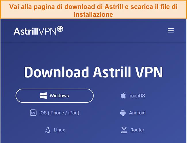 Screenshot della pagina di download di Astrill VPN.