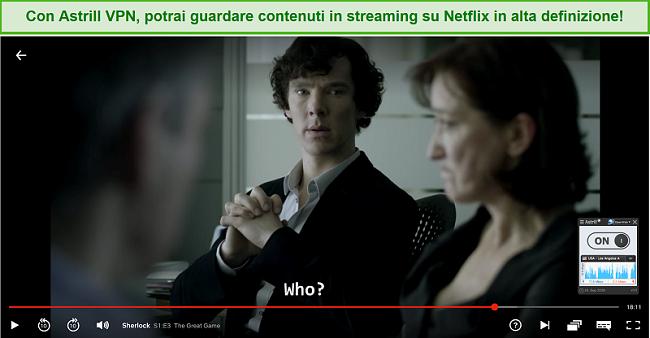 Screenshot von Astrill VPN, das mit einem US-Server verbunden ist und Sherlock auf Netflix streamt.