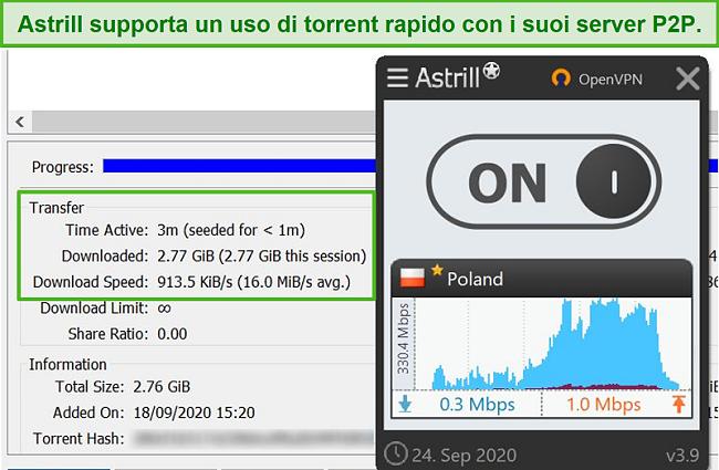 Screenshot von Astrill, der eine Datei über seinen polnischen P2P-unterstützenden Server torrentiert.