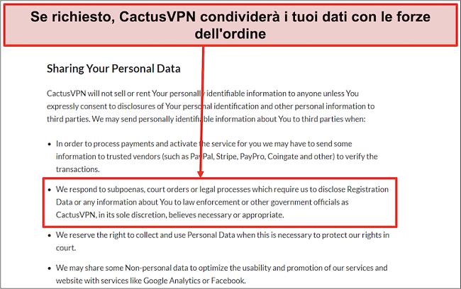 Screenshot della politica sulla privacy di CactusVPN che mostra che consegneranno i tuoi dati