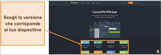 Screenshot che mostra dove scaricare la versione di CactusVPN che desideri dal suo sito web