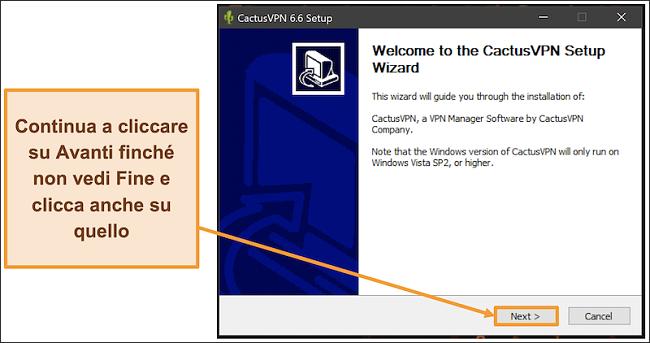 Screenshot che mostra come installare CactusVPN utilizzando la sua procedura guidata di installazione