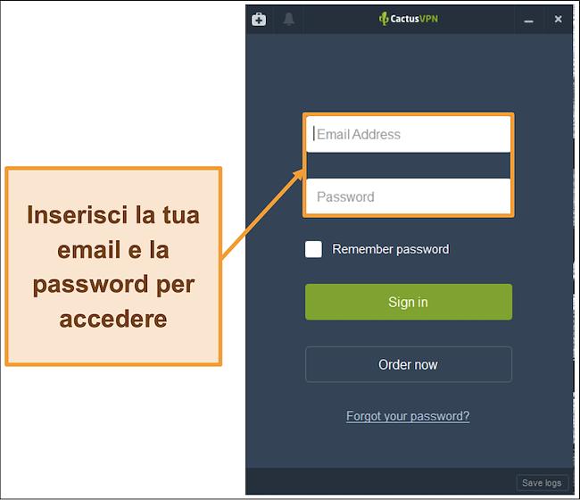 Screenshot che mostra la schermata di accesso sul client CactusVPN