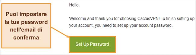 Screenshot che mostra l'e-mail di conferma da CactusVPN per creare una password per il tuo account