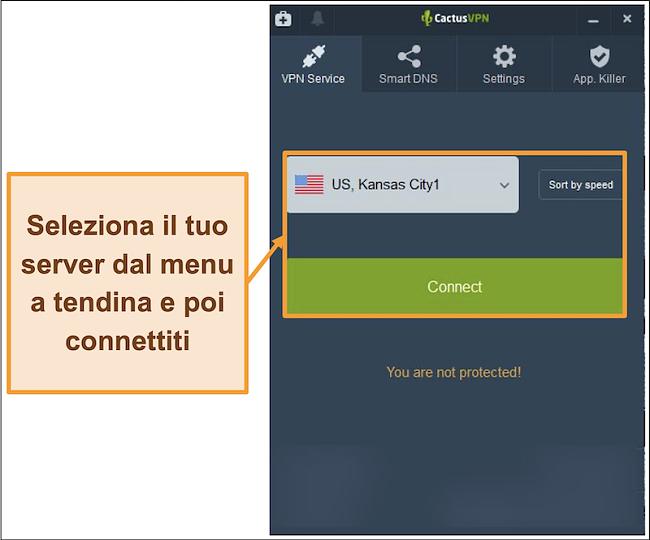 Screenshot dell'interfaccia di CactusVPN che mostra il menu a discesa per la selezione del server