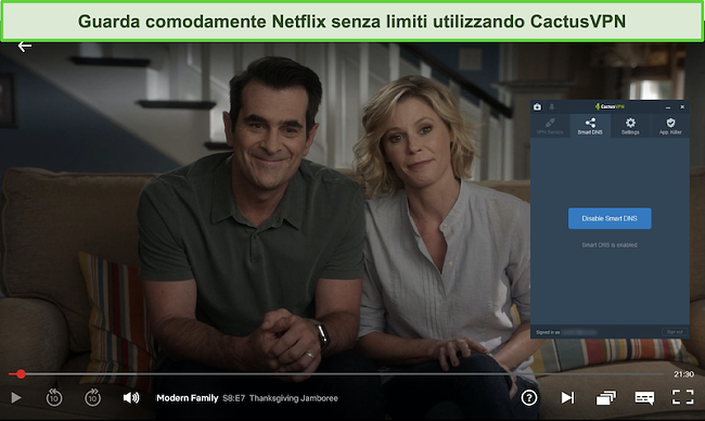 Screenshot di Modern Family in streaming su Netflix con CactusVPN connesso