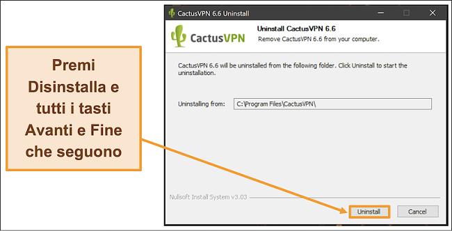 Screenshot che mostra come terminare la disinstallazione di CactusVPN dalla procedura guidata di disinstallazione