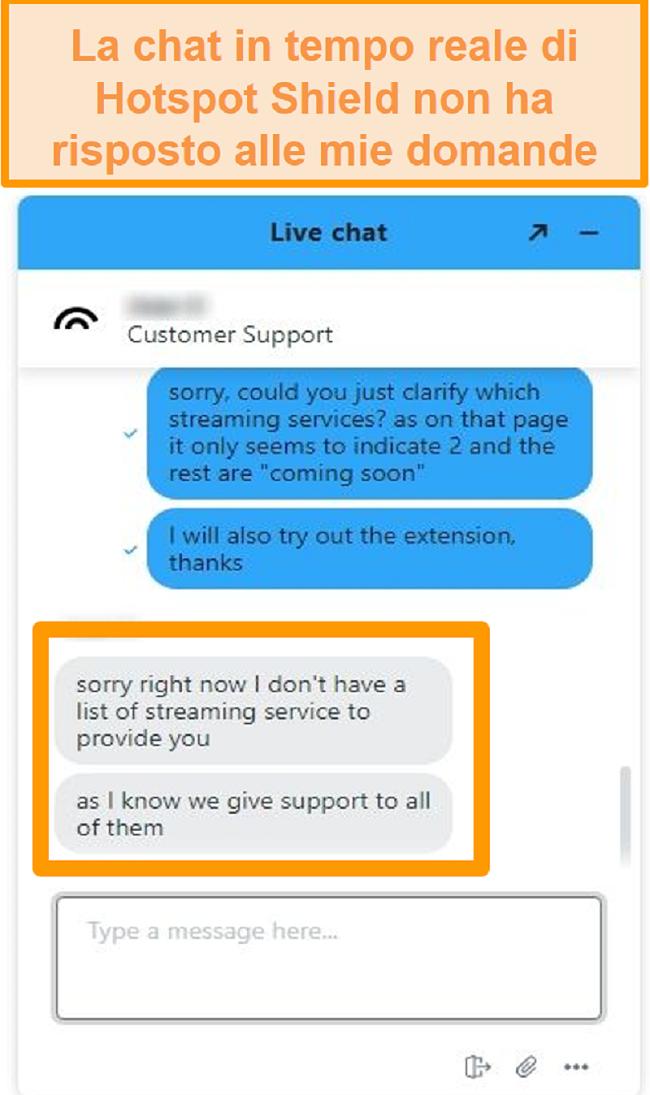 Screenshot di un agente di live chat di Hotspot Shield che non è in grado di rispondere alla mia domanda