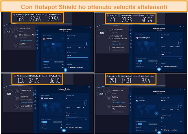 Screenshot dei test di velocità di Hotspot Shield in Germania, Regno Unito, Stati Uniti e Australia