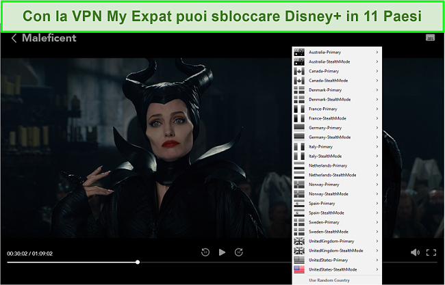 Screenshot di My Expat Network che sblocca Disney + US