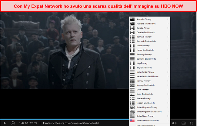 Screenshot della mia rete di espatriati che sblocca HBO NOW