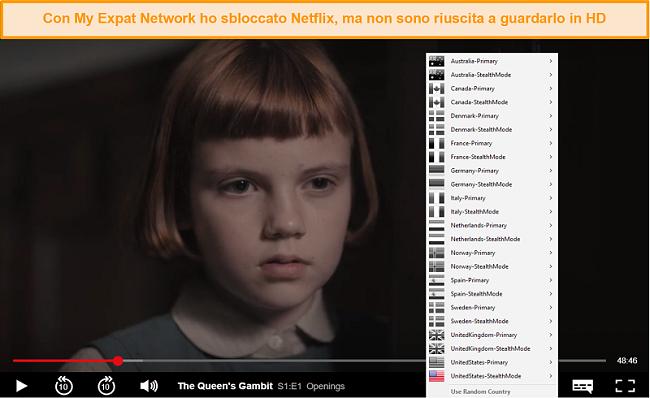 Screenshot di My Expat Networking che sblocca Netflix USA