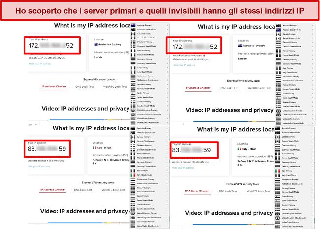 Screenshot dei server primari e invisibili di My Expat Network che forniscono lo stesso indirizzo IP