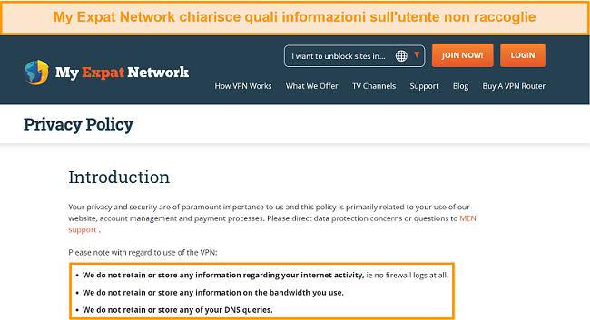 Screenshot della politica sulla privacy di My Expat Network