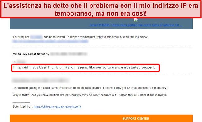 Screenshot della risposta e-mail di My Expat Network che fornisce una spiegazione per un problema di indirizzo IP
