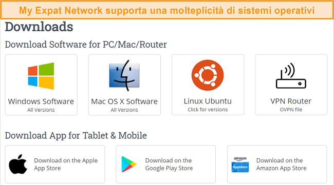 Screenshot della scelta di piattaforme supportate da My Expat Network