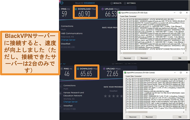 米国のBlackVPNサーバーに接続したときの2つの速度テストのスクリーンショット